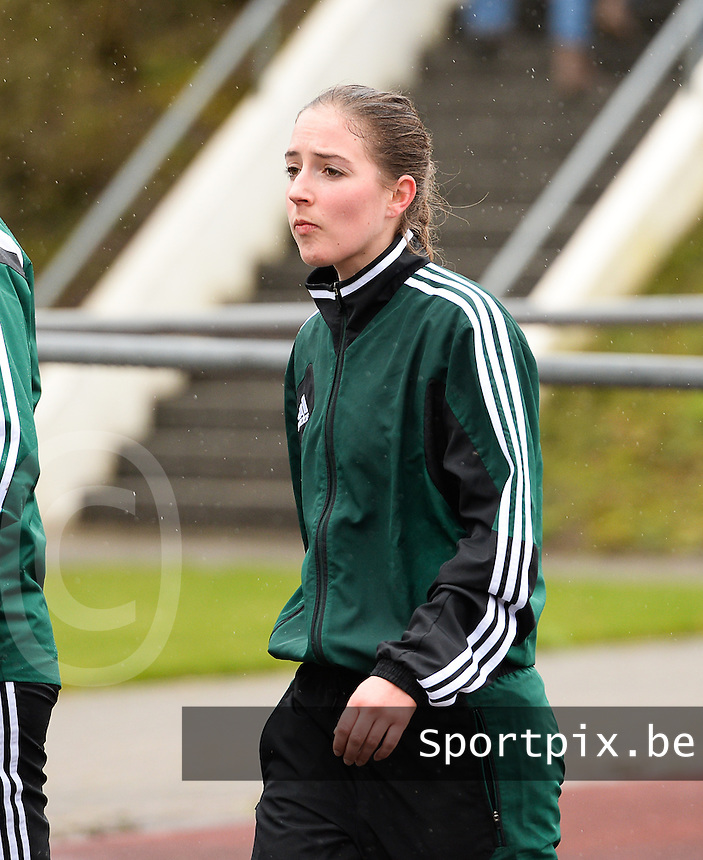 20150404 - FORST , GERMANY  : German assistant referee Imke Lohmeyer pictured during the soccer match between Women Under 19 teams of Belgium and Ukraine , on the first matchday in group 5 of the UEFA Elite Round Women Under 19 at WaldseeStadion , Forst , Germany . Saturday 4th April 2015 . PHOTO DAVID CATRY