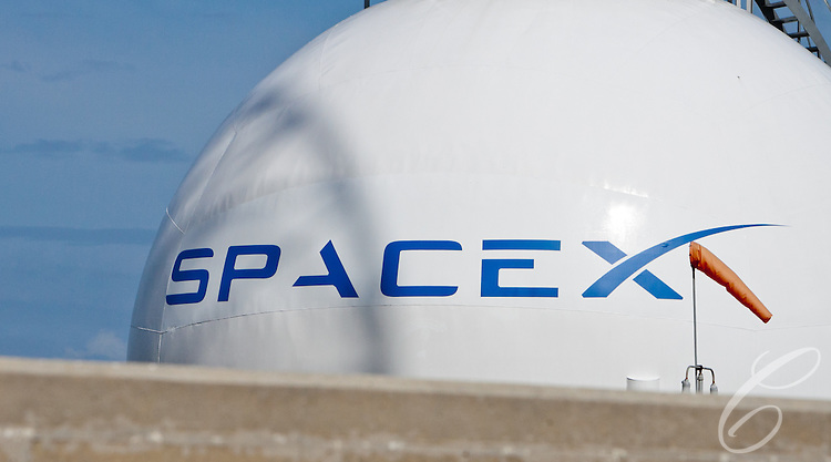 SpaceX's logo emblazons a Liquid  Oxygen (LOX) tank at Launch Complex 40   at  Cape Canaveral, Florida.