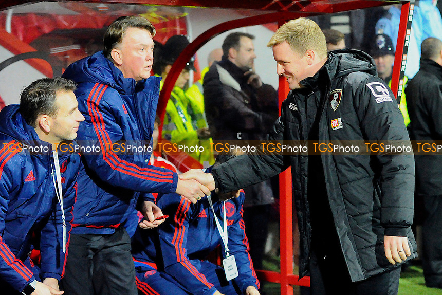 AFC Bournemouth Manager Eddie Howe right shakes hands with Manchester United Manager Luis van Gaal during AFC Bournemouth vs Manchester United at the Vitality Stadium
