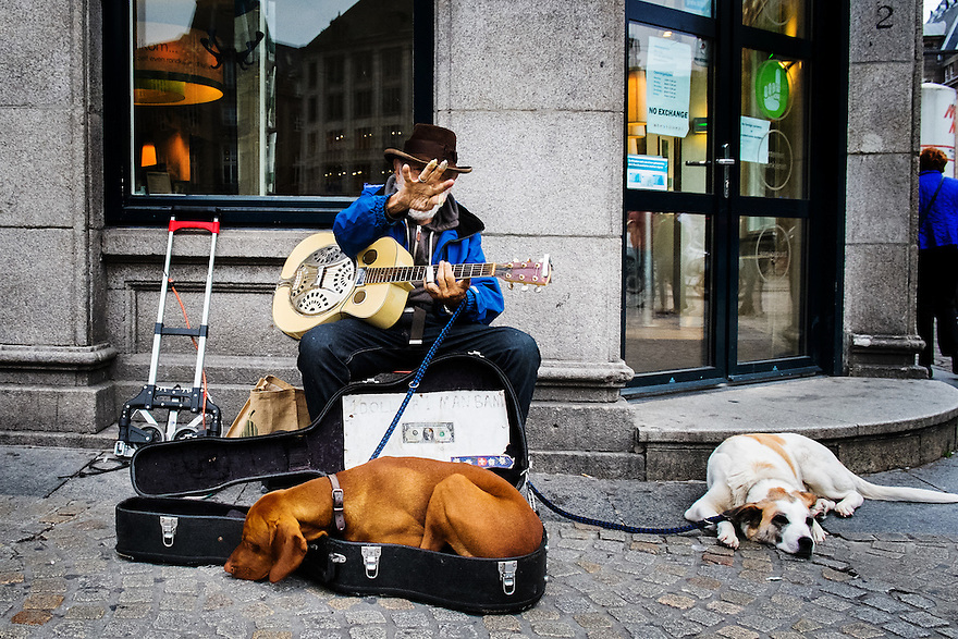 Nederland, Amsterdam, 6 sept 2014<br /> Straatmuzikant met gitaar speelt een mooie fingerpicking blues op de hoek van de Dam. Een van zijn honden ligt graag in de kist van de gitaar.<br /> Foto: (c) Michiel Wijnbergh