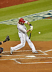12 October 2012: Washington Nationals outfielder Jayson Werth in action during Postseason Playoff Game 5 of the National League Divisional Series against the St. Louis Cardinals at Nationals Park in Washington, DC. The Cardinals rallied with four runs in the 9th inning to defeat the Nationals 9-7; thus winning the NLDS and moving on to the NL Championship Series. Mandatory Credit: Ed Wolfstein Photo
