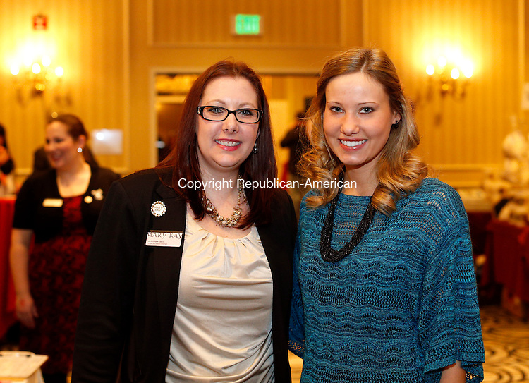 Southbury, CT- 01 February 2015-020115CM10- social moments---- Left to right, Kristina Padelli with Mary Kay and volunteer, Jennifer Kalita, during the Easter Seals Chocolate Expo at the Southbury Crowne Plaza Hotel on Sunday.   Christopher Massa Republican-American