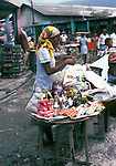 Selling toothpaste and toiletries. Images of the capital,Port au Prince, Haiti 1975
