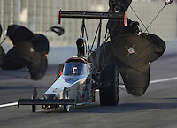 Feb 9, 2017; Pomona, CA, USA; NHRA top alcohol dragster driver Alan Bradshaw during qualifying for the Winternationals at Auto Club Raceway at Pomona. Mandatory Credit: Mark J. Rebilas-USA TODAY Sports