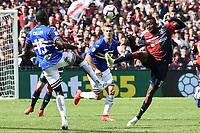 Omar Colley of Sampdoria , Christian Kouame Genoa <br /> Genova 14-04-2019 Stadio Luigi Ferraris Football Calcio Serie A 2018/2019 Sampdoria - Genoa <br /> Foto Matteo Gribaudi / Image Sport / Insidefoto