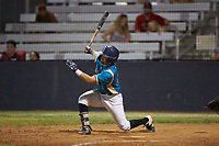 Christian Maggio (31) (Charleston Southern) of the Mooresville Spinners follows through on his swing against the Lake Norman Copperheads at Moor Park on July 6, 2020 in Mooresville, NC.  The Spinners defeated the Copperheads 3-2. (Brian Westerholt/Four Seam Images)
