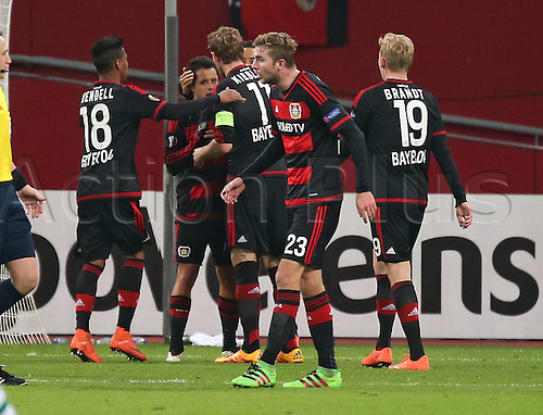 25.02.2016. Leverkusen, Germany. UEFA Europa League football. Bayer Leverkusen versus Sporting Lisbon.  Celebrations for the goal scored for 1:0 by Karim Bellarabi (Bayer 04 Leverkusen)