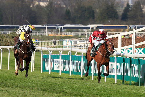 14h April 2018, Aintree Racecourse, Liverpool, England; The 2018 Grand National horse racing festival sponsored by Randox Health, day 3; Tiger Roll ridden by Davy Russell runs to the post to win the Grand National