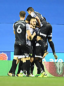 30th September 2017, Madejski Stadium, Reading, England; EFL Championship football, Reading versus Norwich City; Cameron Jerome of Norwich City celebrates scoring their second goal with team mates in the 52nd minute for 1-2