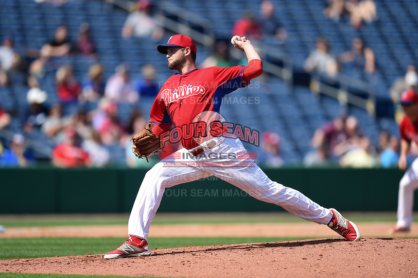 Philadelphia Phillies pitcher Andy Oliver (52) during an exhibition game against the University of Tampa on March 1, 2015 at Bright House Field in Clearwater, Florida.  University of Tampa defeated Philadelphia 6-2.  (Mike Janes/Four Seam Images)