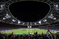 A general view of The Stadium, at the Queen Elizabeth Olympic Park, during the national anthems. Rugby World Cup Pool C match between New Zealand and Namibia on September 24, 2015 at The Stadium, Queen Elizabeth Olympic Park in London, England. Photo by: Patrick Khachfe / Onside Images