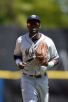 Mobile BayBears outfielder Justin Greene (2) jogs into the dugout during a game against the Huntsville Stars on April 23, 2014 at Joe Davis Stadium in Huntsville, Tennessee.  Huntsville defeated Mobile 4-1.  (Mike Janes/Four Seam Images)