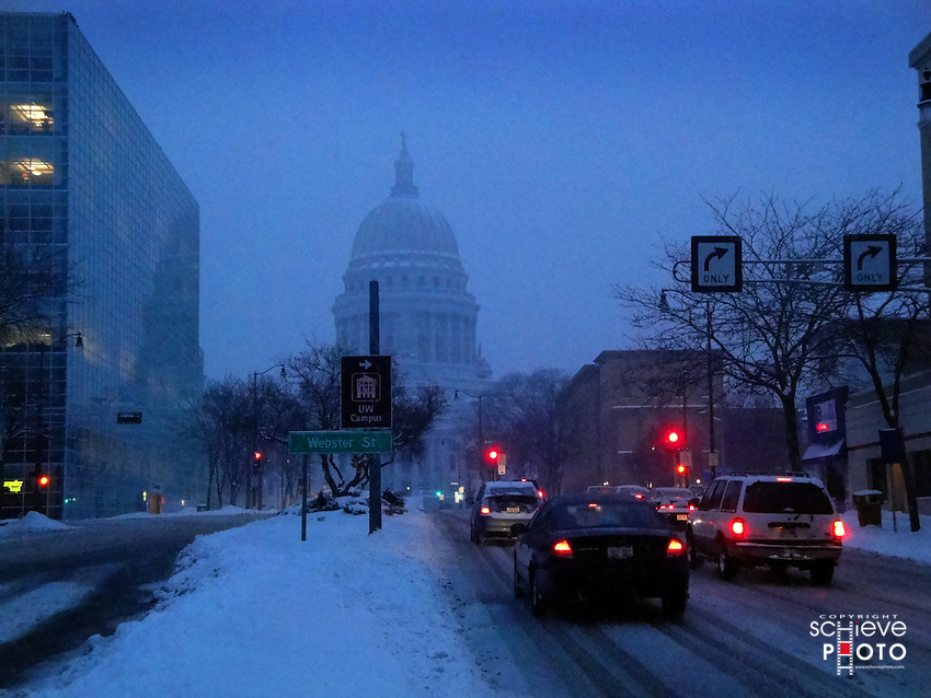 Snow slows winter traffic in Madison, Wisconsin.