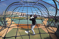 South Carolina Gamecocks players take batting practice before the Reedy River Rivalry game against the Clemson Tigers on March 1, 2014, at Fluor Field at the West End in Greenville, South Carolina. South Carolina won, 10-2. (Tom Priddy/Four Seam Images)