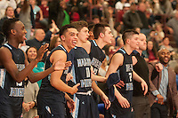 NWA Democrat-Gazette/ANTHONY REYES &bull; @NWATONYR<br /> The Springdale Har-Ber bench celebrates a victory against Springdale in the double overtime Monday, Jan. 11, 2016 at Bulldog Gymnasium in Springdale. The Wildcats won 69-68 in double overtime.