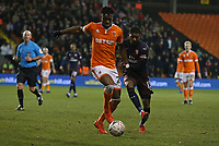 Blackpool's Armand Gnanduillet shields the ball from Arsenal's Ainsley Maitland-Niles<br /> <br /> Photographer Stephen White/CameraSport<br /> <br /> Emirates FA Cup Third Round - Blackpool v Arsenal - Saturday 5th January 2019 - Bloomfield Road - Blackpool<br />  <br /> World Copyright © 2019 CameraSport. All rights reserved. 43 Linden Ave. Countesthorpe. Leicester. England. LE8 5PG - Tel: +44 (0) 116 277 4147 - admin@camerasport.com - www.camerasport.com
