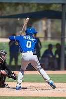 Kansas City Royals center fielder Blake Perkins (0) at bat in front of catcher Evan Skoug (27) during an Instructional League game against the Chicago White Sox at Camelback Ranch on September 25, 2018 in Glendale, Arizona. (Zachary Lucy/Four Seam Images)