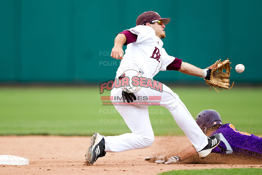 Joey Hawkins (7) of the Missouri State Bears catches a pick off attempt during a game against the Evansville Purple Aces at Hammons Field on May 12, 2012 in Springfield, Missouri. (David Welker/Four Seam Images)