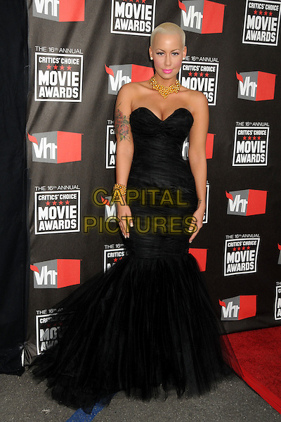 AMBER ROSE .16th Annual Critics' Choice Movie Awards held at the Hollywood Palladium, Hollywood, California, USA, 14th January 2011..full length long maxi dress fishtail gown  strapless black cleavage tulle .CAP/ADM/BP.©Byron Purvis/AdMedia/Capital Pictures.