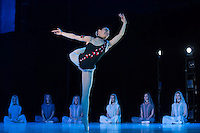 Okuno Riho ninth year student of the Hungarian Dance Academy performs Female variation of Diana-temple choreographed by Laszlo Seregi, music by Leo Delibes during a gala performance held at the National Dance Theatre in Budapest, Hungary on February 27, 2013. ATTILA VOLGYI