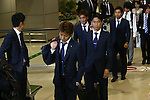 (L-R) Yoichiro Kakitani, Yoshito Okubo, Shinji Kagawa, Yuto Nagatomo (JPN), JUNE 27, 2014 - Football / Soccer : Japanese national soccer team are seen upon arrival back from the World Cup 2014 Brazil at Narita International Airport in Narita on Friday, June 27, 2014. (Photo by AFLO SPORT) [1205]