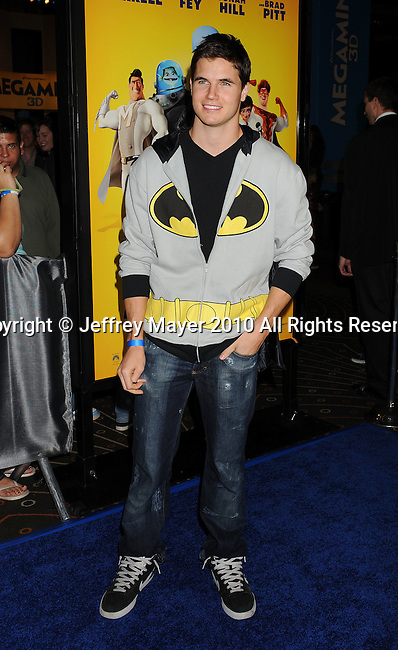 """HOLLYWOOD, CA. - October 30: Robbie Amell arrives at the """"Megamind"""" Los Angeles Premiere at Mann Chinese 6 on October 30, 2010 in Los Angeles, California."""