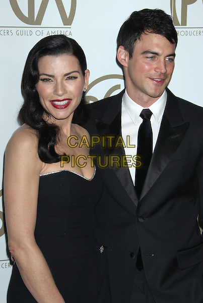 Julianna Margulies, Keith Lieberthal.At the 24th Annual Producers Guild Awards held at the Beverly Hilton Hotel, Beverly Hills, California, USA,.26th January 2013..PGAs PGA arrivals half length dress suit married husband wife black strapless  diamante trim dark red lipstick .CAP/ADM/RE.©Russ Elliot/AdMedia/Capital Pictures.
