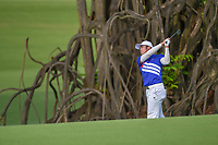 Yung-Hua LIU (TPE) watches his approach shot on 18 during Rd 1 of the Asia-Pacific Amateur Championship, Sentosa Golf Club, Singapore. 10/4/2018.<br /> Picture: Golffile | Ken Murray<br /> <br /> <br /> All photo usage must carry mandatory copyright credit (&copy; Golffile | Ken Murray)