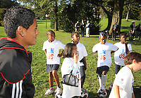 "Andy najar during a  D.C United clinic in support of first lady Michelle Obama's ""Let's Move"" initiative on the White House lawn, in Washington D.C. on October 7 2010."