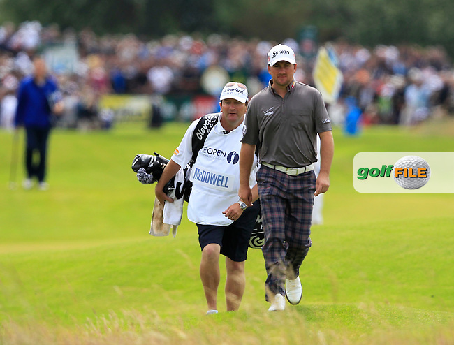 Graeme McDowell (NIR) and caddy Ken Comboy in the rough on the 14th hole during Thursday's Round 1 of the 141st Open Championship at Royal Lytham & St.Annes, England 19th July 2012 (Photo Eoin Clarke/www.golffile.ie)