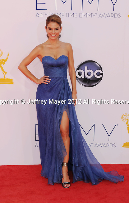 LOS ANGELES, CA - SEPTEMBER 23: Maria Menounos arrives at the 64th Primetime Emmy Awards at Nokia Theatre L.A. Live on September 23, 2012 in Los Angeles, California.