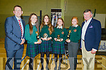 Students of Causeway Comprehensive Secondary School who were presented with their end of the school year awards from Principal Cathal Fitzgerald on Thursday evening , l-r: Cathal Fitzgerald,Ruby O'Riordan,Carlota Gil,Sinead Coleman,Shauna Dineen and Tim Leahy (teacher).