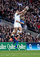 Joe Cokanasiga of England rises high during the Guinness Six Nations match between England and Italy at Twickenham Stadium on March 9th, 2019 in London, United Kingdom. Photo by Liam McAvoy.