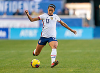HARRISON, NJ - MARCH 08: Lynn Williams #13 of the United States passes the ball during a game between Spain and USWNT at Red Bull Arena on March 08, 2020 in Harrison, New Jersey.