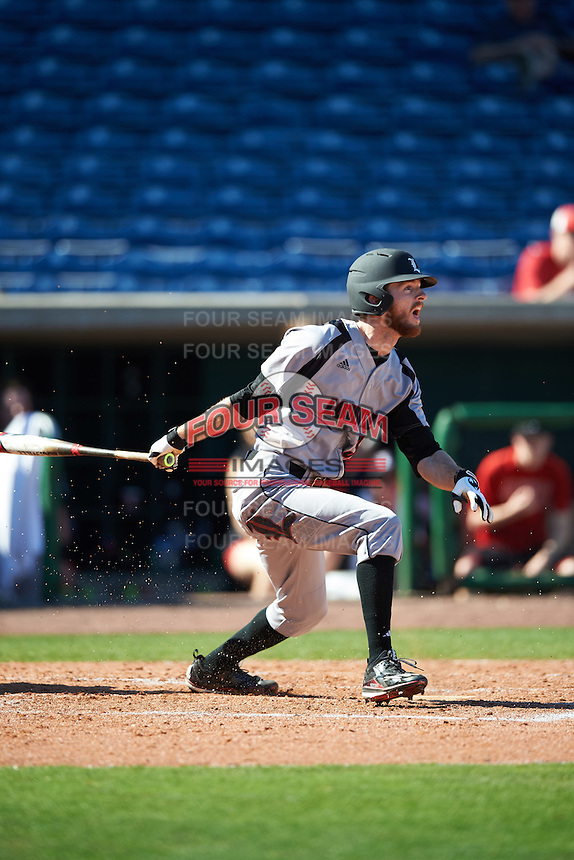 Louisville Cardinals right fielder Colin Lyman (35) at bat during a game against the Ball State Cardinals on February 19, 2017 at Spectrum Field in Clearwater, Florida.  Louisville defeated Ball State 10-4.  (Mike Janes/Four Seam Images)