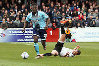 Aristote Nsiala of Grimsby Town (left) during the Vanarama National League match between Dover Athletic and Grimsby Town at the Crabble Athletic Ground, Dover, England on 16 April 2016. Photo by Tony Fowles/PRiME Media Images.