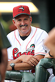 Great Lakes Loons coach Juan Bustabad during a game vs. the Dayton Dragons at Dow Diamond in Midland, Michigan August 19, 2010.   Great Lakes defeated Dayton 1-0.  Photo By Mike Janes/Four Seam Images