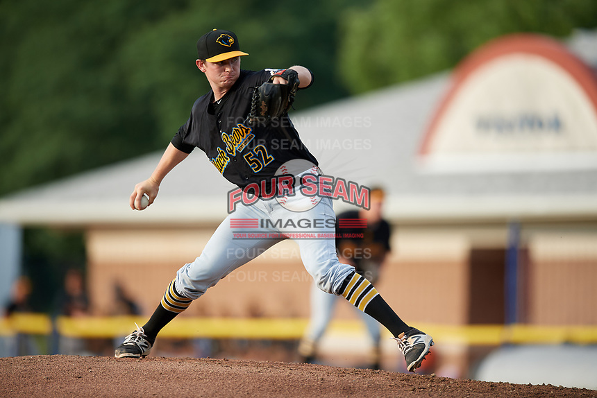 West Virginia Black Bears starting pitcher Michael Flynn (52) delivers a pitch during a game against the Batavia Muckdogs on July 2, 2018 at Dwyer Stadium in Batavia, New York.  West Virginia defeated Batavia 3-1.  (Mike Janes/Four Seam Images)