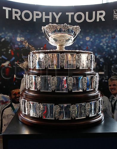 06.03.2016. Barclaycard Arena, Birmingham, England. Davis Cup Tennis World Group First Round. Great Britain versus Japan. The Davis Cup trophy won by Great Britain in 2015 on display inside the Arena.