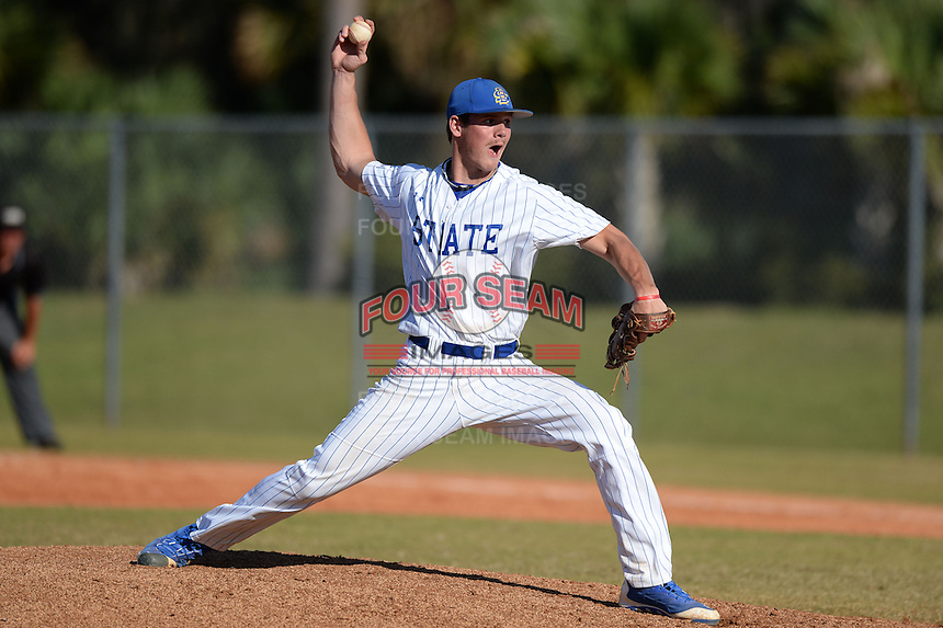 South Dakota State JackRabbits pitcher Ethan Kenkel (17) delivers a pitch during a game against the Georgetown Hoyas at South County Regional Park on March 9, 2014 in Port Charlotte, Florida.  Georgetown defeated South Dakota 7-4.  (Mike Janes/Four Seam Images)