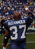 Sep 18, 2005; Seattle, WA, USA; Seattle Seahawks running back Shaun Alexander #37 points to the crowd after beating the Atlanta Falcons at Qwest Field. Mandatory Credit: Photo By Mark J. Rebilas