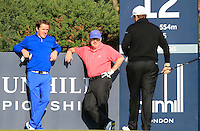 AP McCoy (AM), Gerry McManus (AM) and Shane Lowry (IRL) on the 12th tee during Round 2 of the 2015 Alfred Dunhill Links Championship at Kingsbarns in Scotland on 2/10/15.<br /> Picture: Thos Caffrey | Golffile