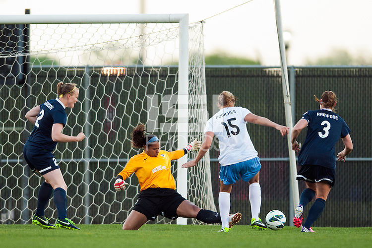 Sky Blue FC goalkeeper Brittany Cameron (1) defends Chicago Red Stars defender Lauren Fowlkes (15). Sky Blue FC and the Chicago Red Stars played to a 1-1 tie during a National Women's Soccer League (NWSL) match at Yurcak Field in Piscataway, NJ, on May 8, 2013.