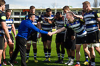 Bath Rugby Head Coach Mike Ford shakes hands with Will Homer after the match. Aviva Premiership match, between Bath Rugby and Sale Sharks on April 23, 2016 at the Recreation Ground in Bath, England. Photo by: Patrick Khachfe / Onside Images