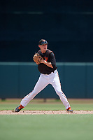 GCL Orioles shortstop Gunnar Henderson (9) throws to first base during a Gulf Coast League game against the GCL Braves on August 5, 2019 at Ed Smith Stadium in Sarasota, Florida.  GCL Orioles defeated the GCL Braves 4-3 in the second game of a doubleheader.  (Mike Janes/Four Seam Images)
