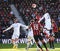 29th February 2020; Vitality Stadium, Bournemouth, Dorset, England; English Premier League Football, Bournemouth Athletic versus Chelsea; Fikayo Tomori of Chelsea defends the corner kick under pressure from Jefferson Lerma of Bournemouth