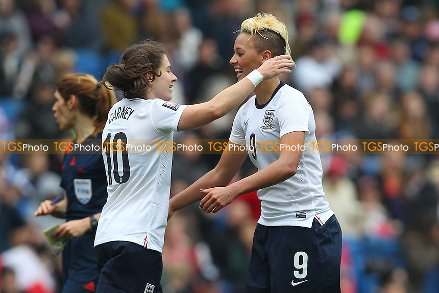 Lianne Sanderson (9) celebrates scoring the sixth goal for England - England Women vs Montenegro Women - FIFA Womens World Cup 2015 Qualifying Group 6 Football at The Amex, Falmer Stadium, Brighton & Hove Albion FC - 05/04/14 - MANDATORY CREDIT: Gavin Ellis/TGSPHOTO - Self billing applies where appropriate - 0845 094 6026 - contact@tgsphoto.co.uk - NO UNPAID USE