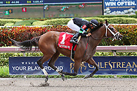 HALLANDALE BEACH, FL - JUNE 30:  #1 Alter Moon with jockey Edgard Zayas up, wins the Azalea Stakes at Gulfstream Park on June 30, 2018 in Hallandale Beach, Florida. (Photo by Liz Lamont/Eclipse Sportswire/Getty Images)