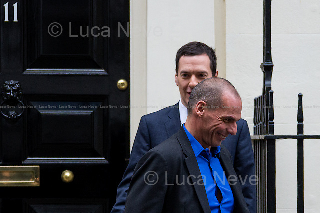 London, 02/02/2015. Today, the new Finance Minister of Greece, Yanis Varoufakis, visited 11 Downing Street to meet George Osborne, the British Chancellor of the Exchequer. <br /> Minister Yanis Varoufakis is a political economist and author, and has dual Greek-Australian nationality. Varoufakis is author of &quot;The Global Minotaur&quot;, he is Professor of Economic Theory at the University of Athens and a private consultant for Valve Corporation.