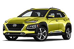 Stock pictures of low aggressive front three quarter view of a 2018 Hyundai Kona Limited DCT 5 Door SUV